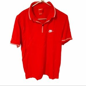 Nike Mens Red Cotton Polo Grand Slam Fit Large